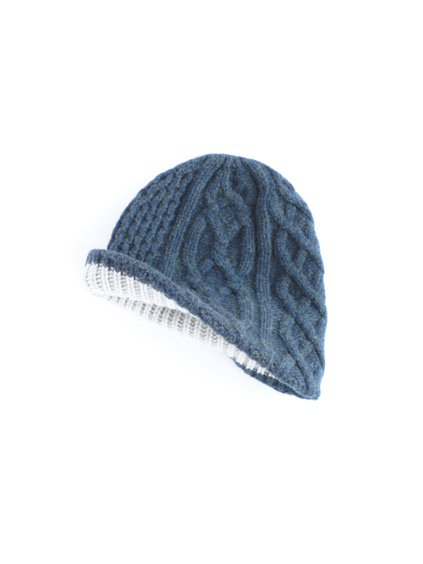 mature ha. slant cutting knit cap aran 2 long lamb (Dark blue green)2