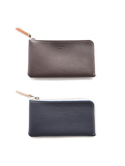 MOTORATORY GERMAN SHURANKEN CALF ZIP LONG WALLET ''elle''(BROWN)(NAVY)