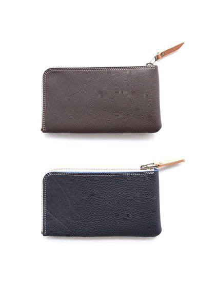 MOTORATORY GERMAN SHURANKEN CALF ZIP LONG WALLET ''elle''(BROWN)(NAVY)2