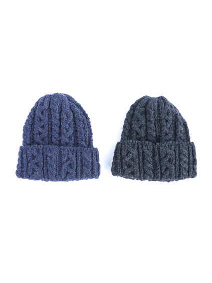 HIGHLAND2000 BRITISH WOOL BOB CAP cable(DENIM)(CHARCOAL)