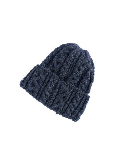HIGHLAND2000 BRITISH WOOL BOB CAP cable(DENIM)(CHARCOAL)3