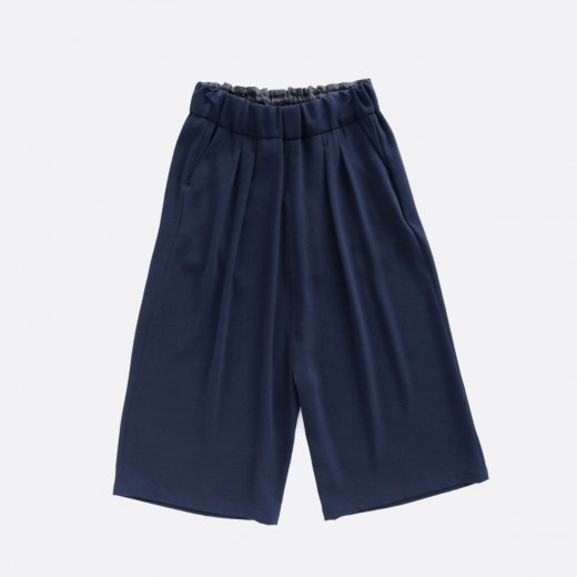 ACETATE & POLYESTER DOUBLE CLOTH WIDE CROPPED PANTS