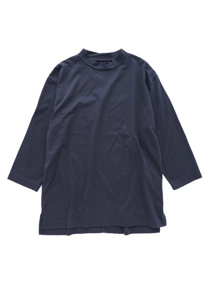Honor gathering italian cotton smooth mock neck T (navy)1
