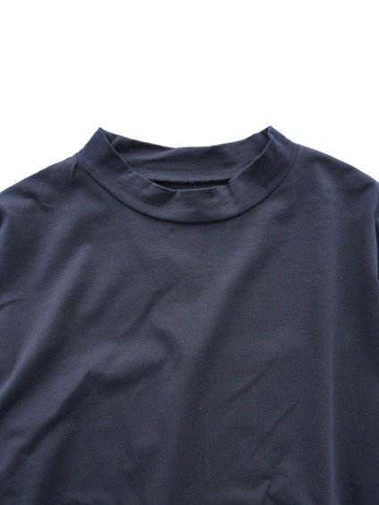 Honor gathering italian cotton smooth mock neck T (navy)2
