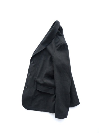山内 COTTON LINEN OX SHAWL COLLAR JACKET (black)3