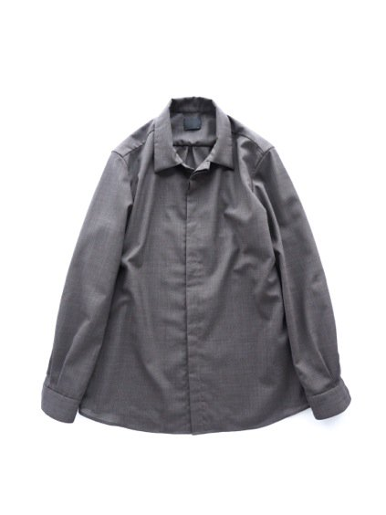 山内 NO MULESING・SILK WOOL SHIRTS (brown)1