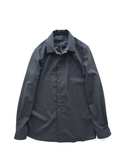 山内 NO MULESING・SILK WOOL SHIRTS (charcoal gray)