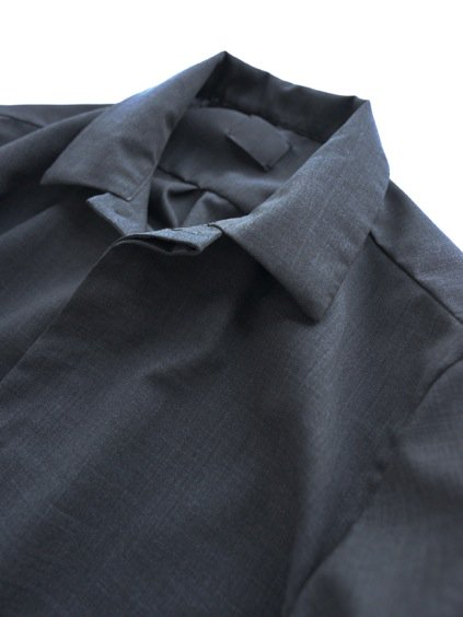 山内 NO MULESING・SILK WOOL SHIRTS (charcoal gray)2