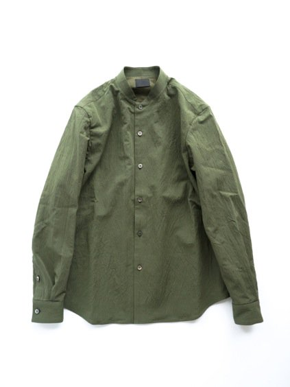 山内 STAND COLLAR LINEN SHIRTS (green)