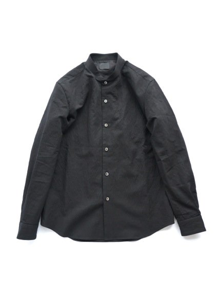 山内 STAND COLLAR LINEN SHIRTS (black)