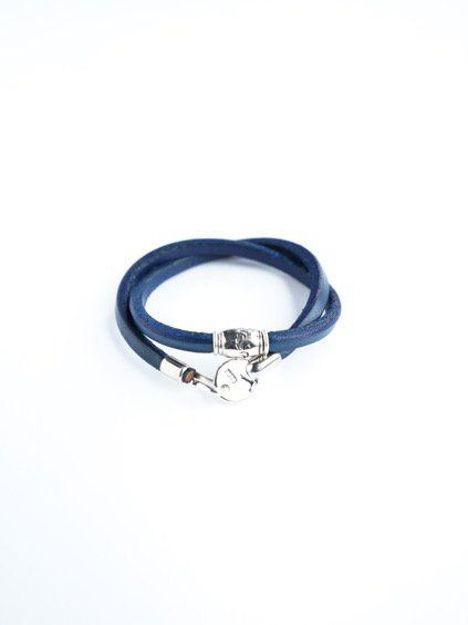 MOTO 2連LEATHER BRACELET  (BLUE)