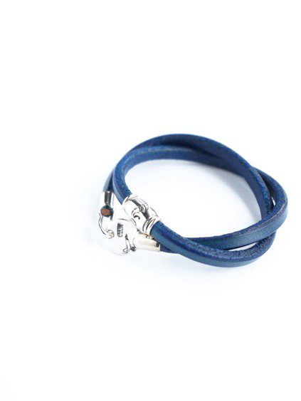 MOTO 2連LEATHER BRACELET  (BLUE)2