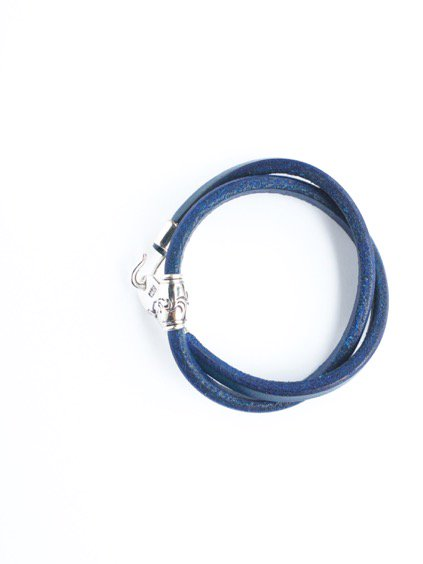 MOTO 2連LEATHER BRACELET  (BLUE)3