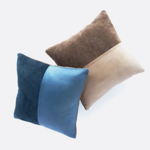 LEATHER CUSHION (BLUE)(BROWN)