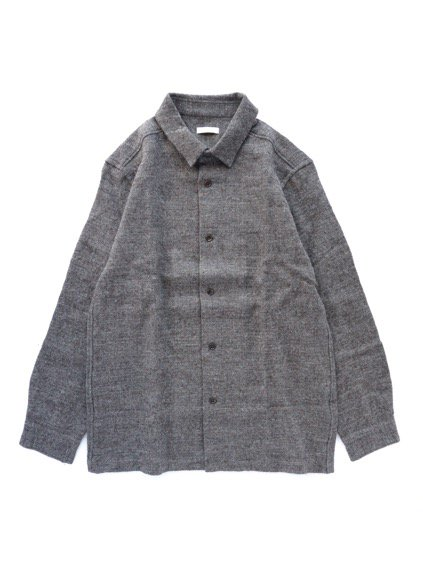 niuhans  Shetland Wool Linen Oversized Shirt (Brown)