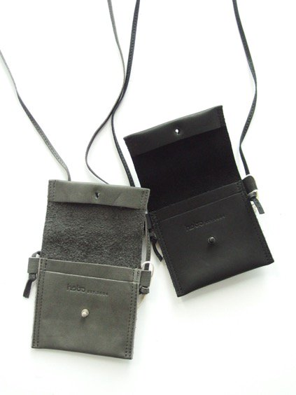 hobo Cow Leather Neck Pouch S  (GRAY)(BLACK)3
