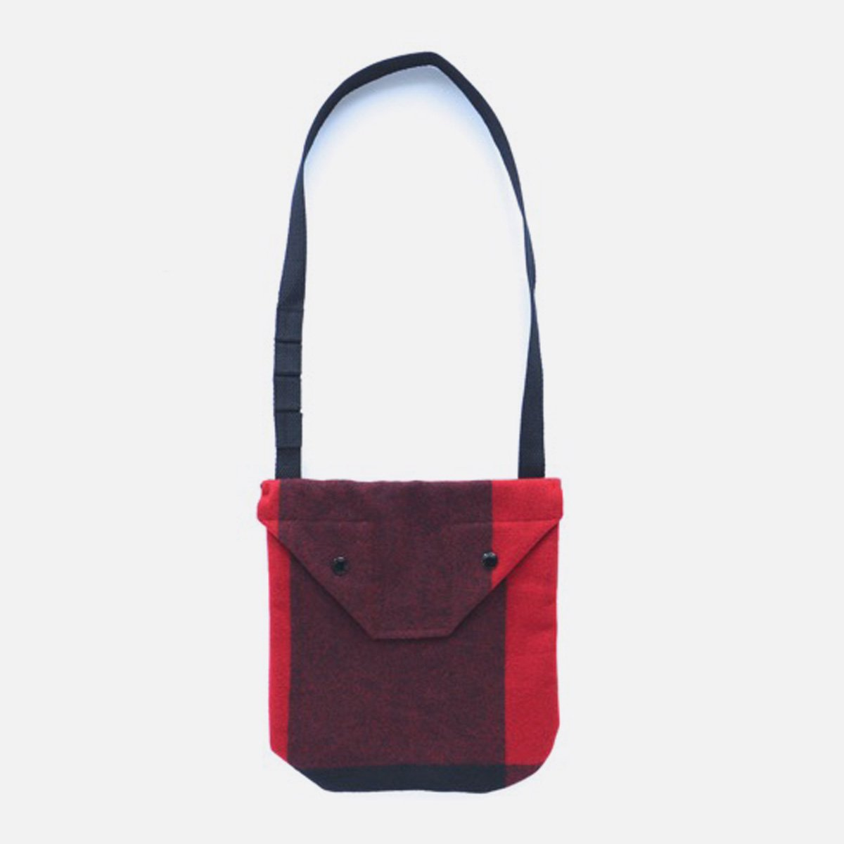 Engineered Garments Shoulder Pouch - Big Plaid Wool Melton  (Red)