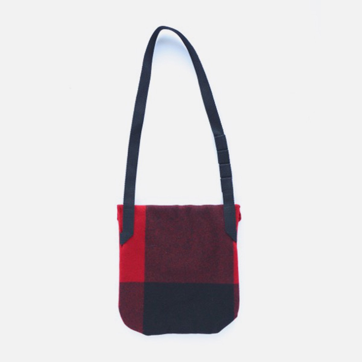 Engineered Garments Shoulder Pouch - Big Plaid Wool Melton  (Red)2