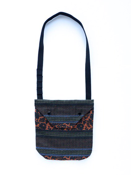 Engineered Garments Shoulder Pouch - Ethnic Floral Jacquard  (Black/Rust)
