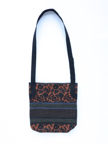 Engineered Garments Shoulder Pouch - Ethnic Floral Jacquard  (Black/Rust)4