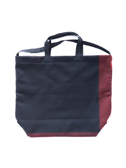 Engineered Garments Carry All Tote - Big Plaid Wool Melton  (Black)2