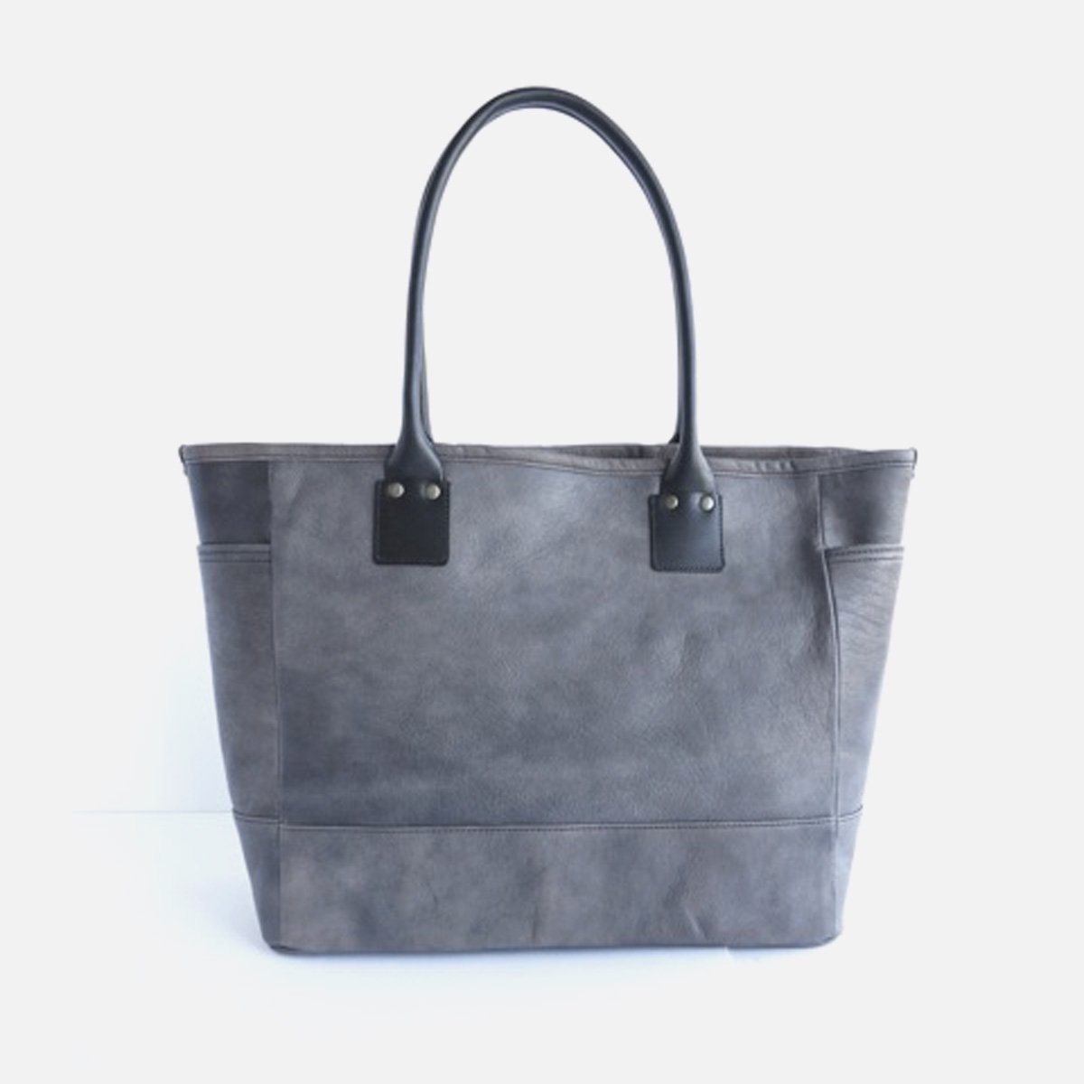 LEATHER&SILVER MOTO BAG19 GOAT LEATHER TOTE BAG (CHARCOAL)