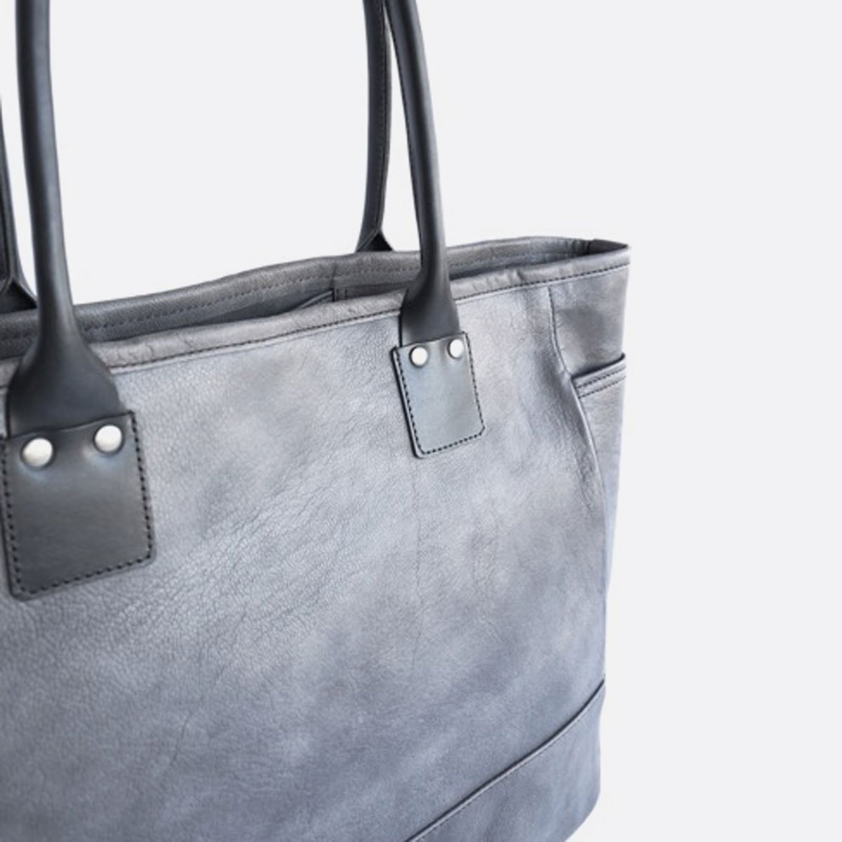 LEATHER&SILVER MOTO BAG19 GOAT LEATHER TOTE BAG (CHARCOAL)2