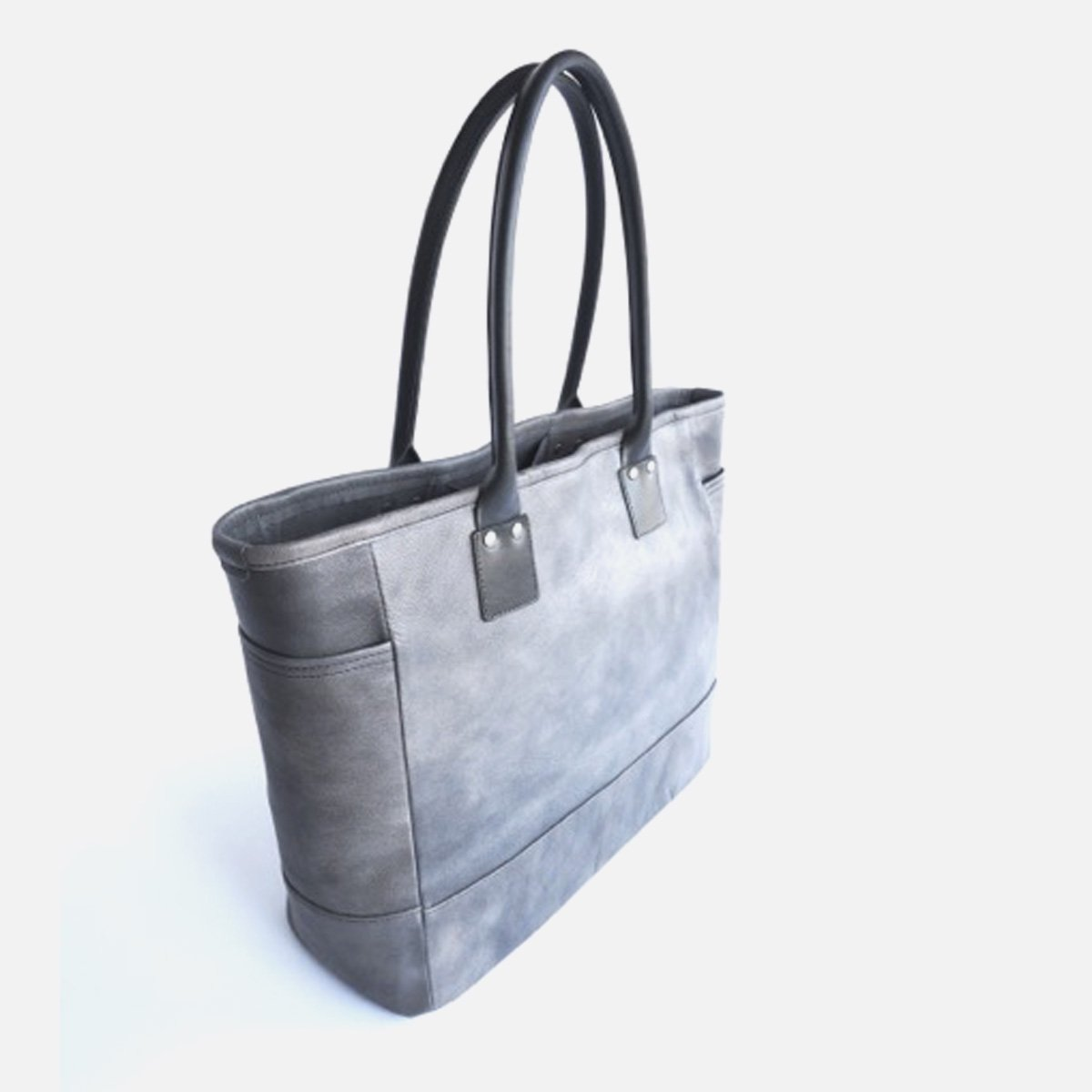 LEATHER&SILVER MOTO BAG19 GOAT LEATHER TOTE BAG (CHARCOAL)3