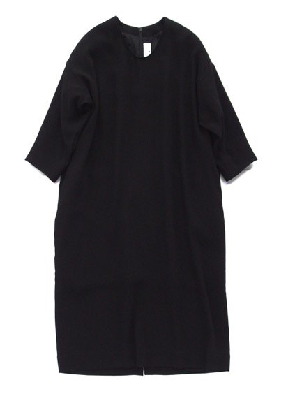 NO CONTROL AIR ACETATE POLYESTER DOUBLE CLOTH ONE PIECE -LONG TYPE - (BLACK)