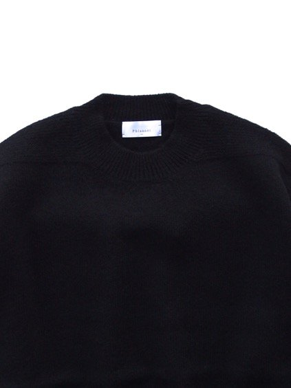 Phlannel Shetland Wool Crewneck Sweater  (Black)2