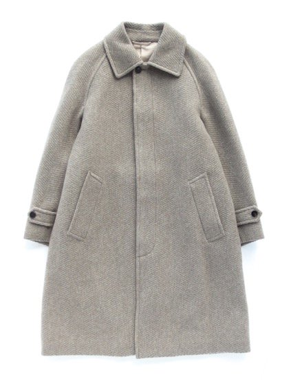 Phlannel Mix Tweed Balmacaan Coat  (Beige)
