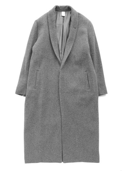 NO CONTROL AIR 1/16RAMB WOOL FIGURE TWILL CHESTER COAT  (grey&blue)