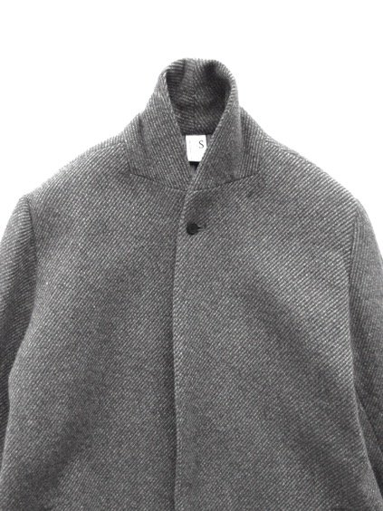NO CONTROL AIR 1/16RAMB WOOL FIGURE TWILL CHESTER COAT  (grey&blue)2