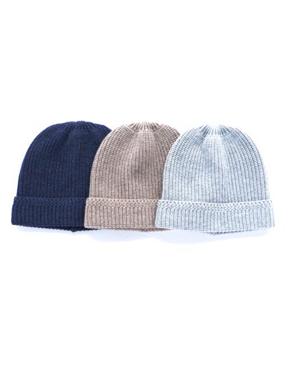 niuhans  New Zealand Merino Wool Low Gauge Knit Cap (Light Grey)(Light Brown) (Navy)