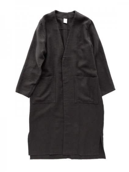 NO CONTROL AIR NYLON COVERING HIGH TWISTED LINEN COAT  (black)