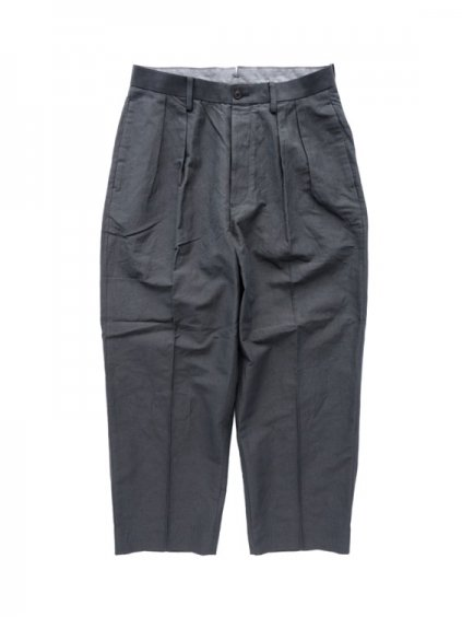 Phlannel Cotton Ramie Weather Cloth 2 Tuck Trousers  (Charcoal gray)