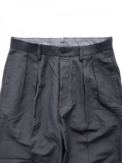 Phlannel Cotton Ramie Weather Cloth 2 Tuck Trousers  (Charcoal gray)2