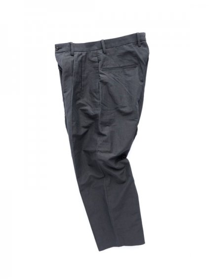 Phlannel Cotton Ramie Weather Cloth 2 Tuck Trousers  (Charcoal gray)3