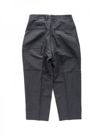 Phlannel Cotton Ramie Weather Cloth 2 Tuck Trousers  (Charcoal gray)4