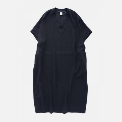 ACETATE POLYESTER DOUBLE CLOTH V-NECK ONE PIECE