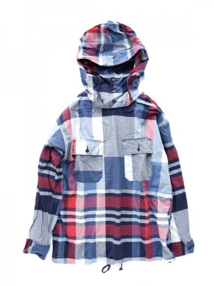 Engineered Garments Cagoule Shirt -Big Madras Plaid (Navy/Red)