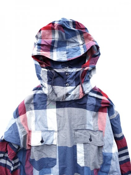 Engineered Garments Cagoule Shirt -Big Madras Plaid (Navy/Red)2