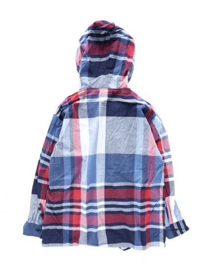 Engineered Garments Cagoule Shirt -Big Madras Plaid (Navy/Red)4