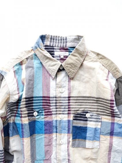 Engineered Garments  Work Shirt - Big Plaid  (KHAKI)2