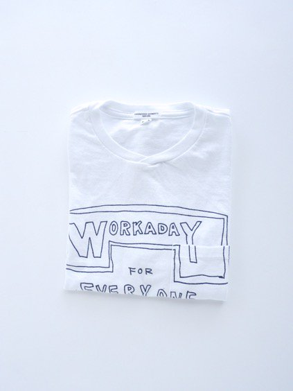 Engineered Garments  Workaday Printed C/N Pocket Tee -Workaday for Everyone  (WHITE)1