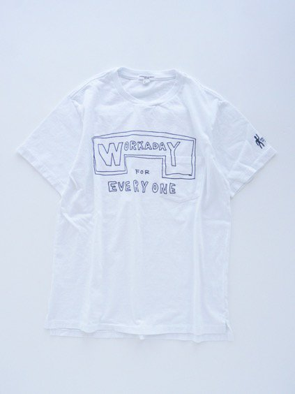Engineered Garments  Workaday Printed C/N Pocket Tee -Workaday for Everyone  (WHITE)2