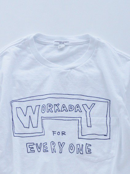 Engineered Garments  Workaday Printed C/N Pocket Tee -Workaday for Everyone  (WHITE)3