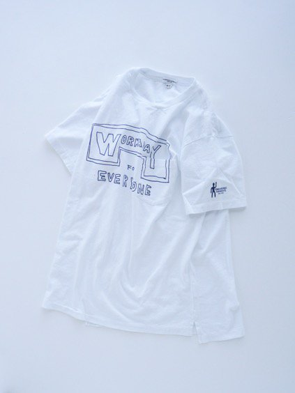Engineered Garments  Workaday Printed C/N Pocket Tee -Workaday for Everyone  (WHITE)4