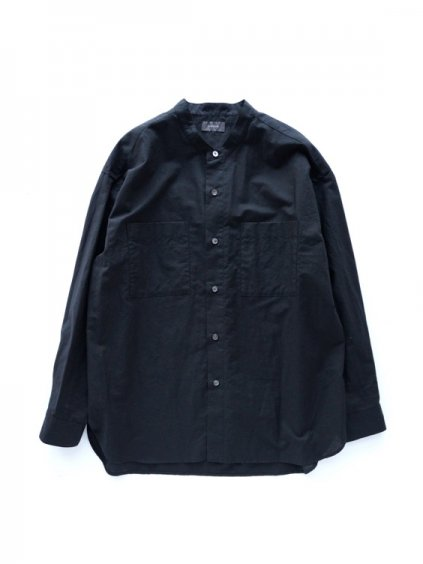 WIRROW  COTTON LINEN STAND COLLAR SHIRT  (BLACK)