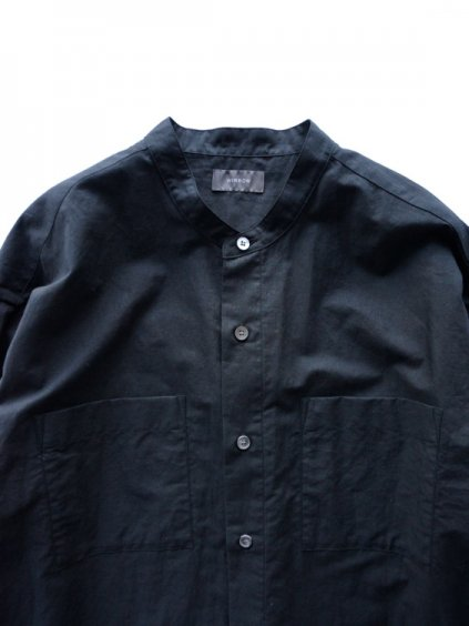 WIRROW  COTTON LINEN STAND COLLAR SHIRT  (BLACK)2